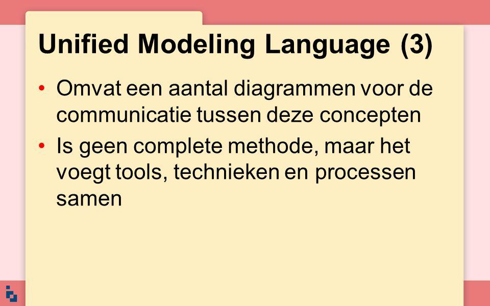 Unified Modeling Language (3) Omvat een aantal diagrammen voor de communicatie tussen deze concepten Is geen complete methode, maar het voegt tools, t