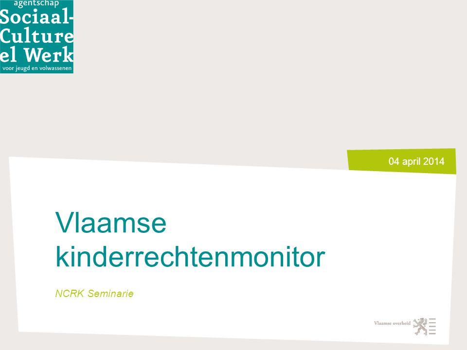 Via Beeld > Koptekst en voettekst kan je de voettekst ingeven 4 april 2014 2 Doel en opzet Vlaamse kinderrechtenmonitor Beleidsvoorbereidend => instrument versterken coördinatie => op agenda overheden Leefsituatie van kinderen en jongeren en de diversiteit daarbinnen centraal Geheel van: -Indicatorenset -Verdiepingsstudies -Lokale luik Verspreid via website en 5-jaarlijks rapport met link naar beleid