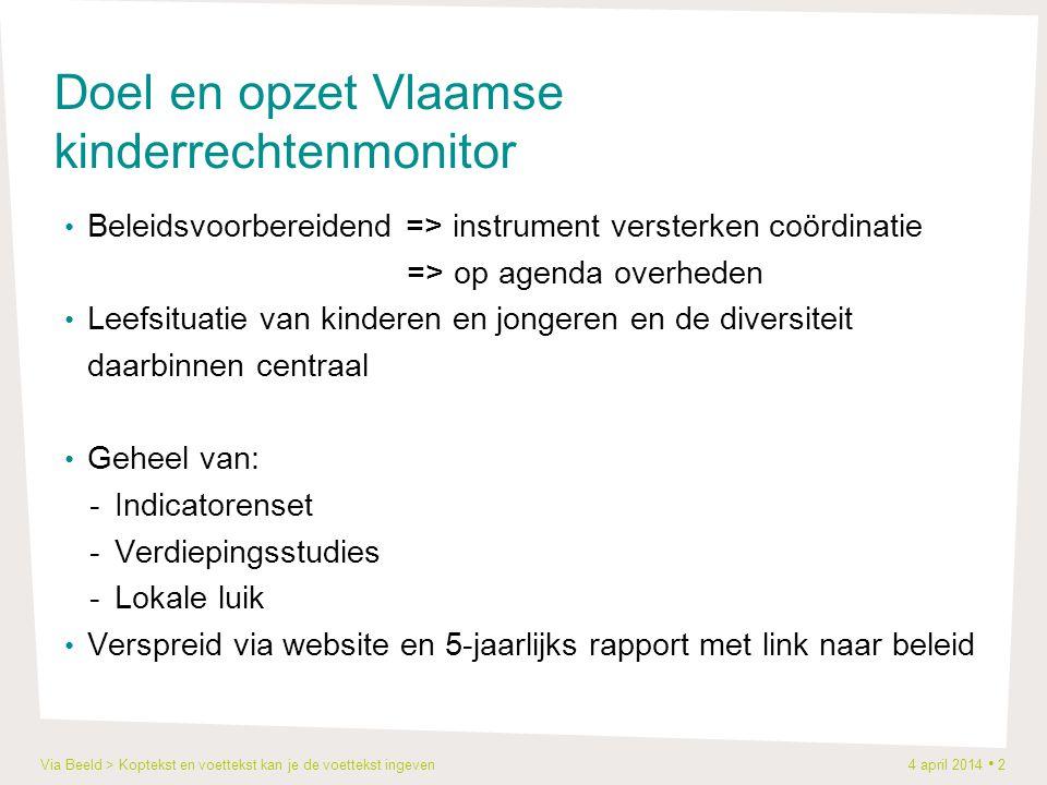Via Beeld > Koptekst en voettekst kan je de voettekst ingeven 4 april 2014 2 Doel en opzet Vlaamse kinderrechtenmonitor Beleidsvoorbereidend => instru