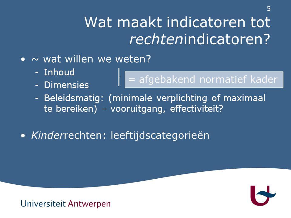 5 Wat maakt indicatoren tot rechtenindicatoren? ~ wat willen we weten? -Inhoud -Dimensies -Beleidsmatig: (minimale verplichting of maximaal te bereike