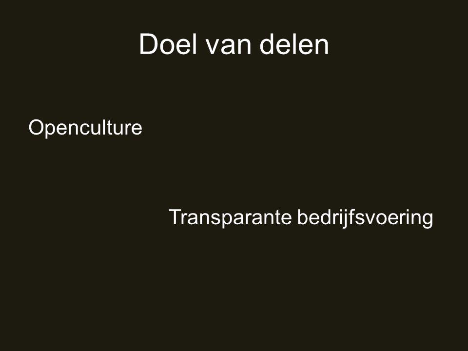 Doel van delen Openculture Transparante bedrijfsvoering