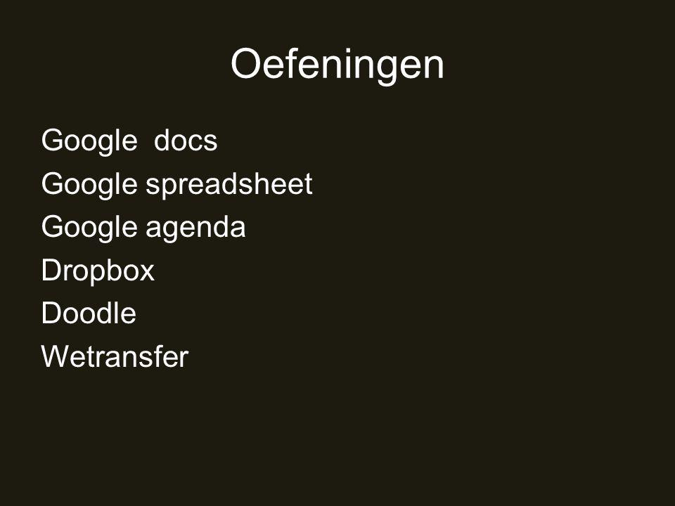 Oefeningen Google docs Google spreadsheet Google agenda Dropbox Doodle Wetransfer