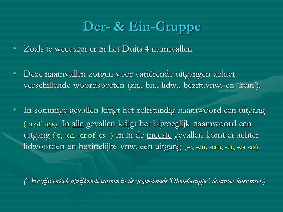 Der- & Ein-Gruppe Zoals je weet zijn er in het Duits 4 naamvallen.Zoals je weet zijn er in het Duits 4 naamvallen. Deze naamvallen zorgen voor variëre