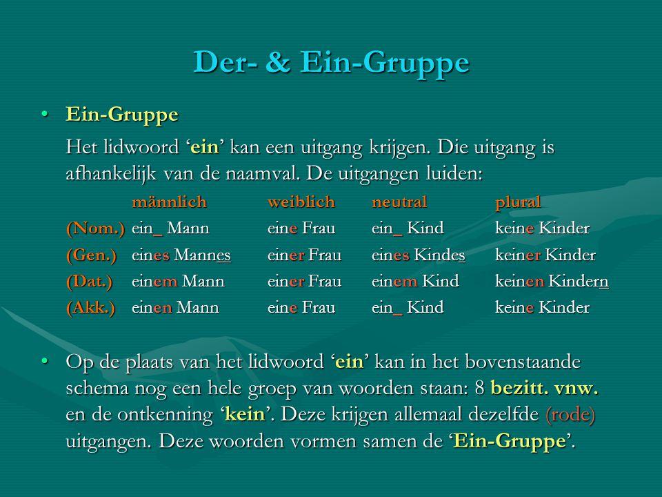 Der- & Ein-Gruppe Ein-GruppeEin-Gruppe Het lidwoord 'ein' kan een uitgang krijgen. Die uitgang is afhankelijk van de naamval. De uitgangen luiden: män