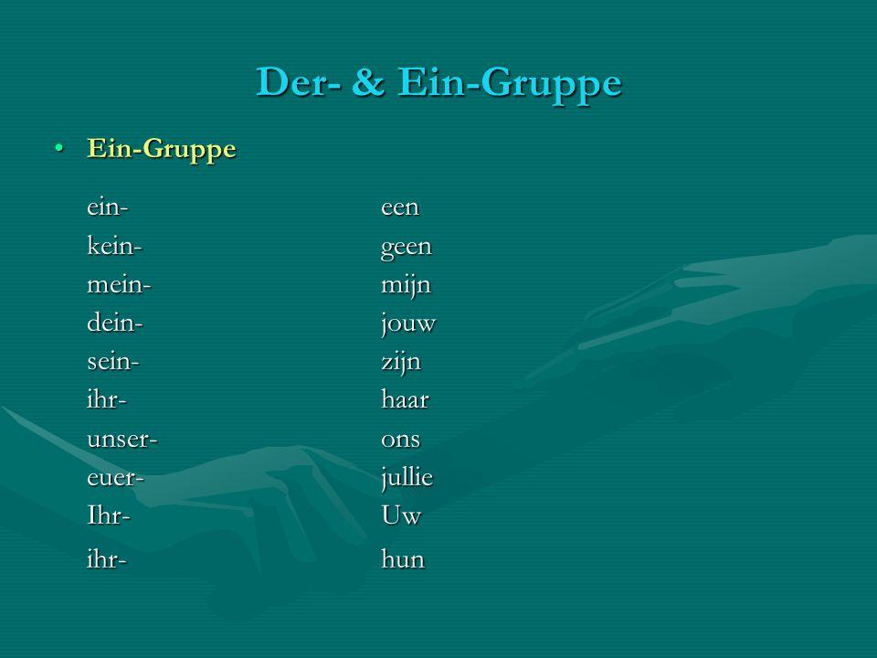 Der- & Ein-Gruppe Ein-GruppeEin-Gruppe ein-een kein-geen mein-mijn dein-jouw sein-zijn ihr-haar unser-ons euer-jullie Ihr-Uw ihr-hun