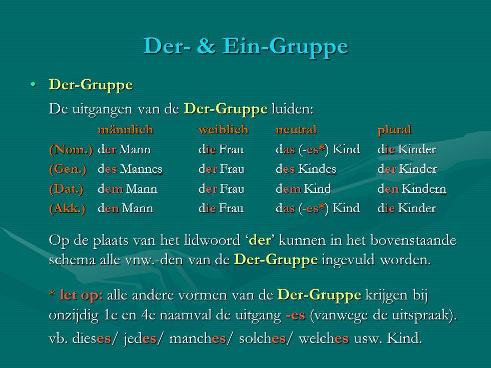 Der- & Ein-Gruppe Der-GruppeDer-Gruppe De uitgangen van de Der-Gruppe luiden: männlichweiblichneutral plural (Nom.)der Mann die Fraudas (-es*) Kind di