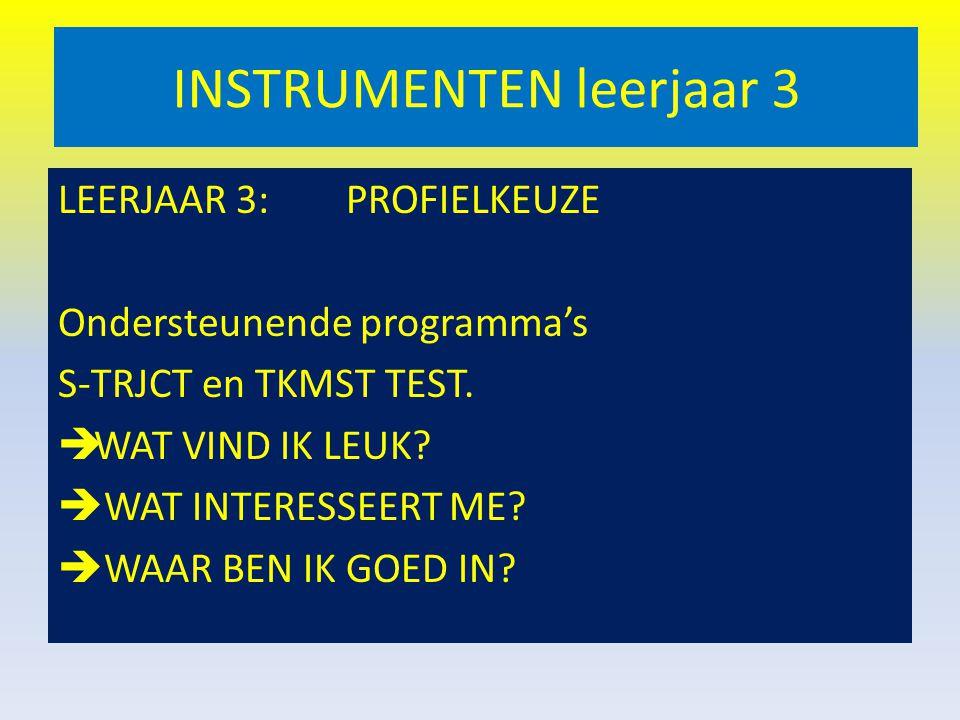 INSTRUMENTEN leerjaar 3 LEERJAAR 3: PROFIELKEUZE Ondersteunende programma's S-TRJCT en TKMST TEST.  WAT VIND IK LEUK?  WAT INTERESSEERT ME?  WAAR B