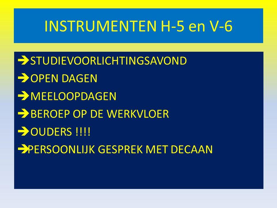 INSTRUMENTEN H-5 en V-6  STUDIEVOORLICHTINGSAVOND  OPEN DAGEN  MEELOOPDAGEN  BEROEP OP DE WERKVLOER  OUDERS !!!!  PERSOONLIJK GESPREK MET DECAAN