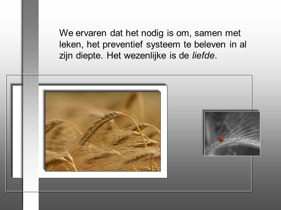 We ervaren dat het nodig is om, samen met leken, het preventief systeem te beleven in al zijn diepte.