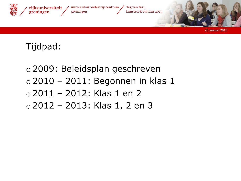 25 januari 2013 universitair onderwijscentrum groningen dag van taal, kunsten & cultuur 2013 Tijdpad: o 2009: Beleidsplan geschreven o 2010 – 2011: Be