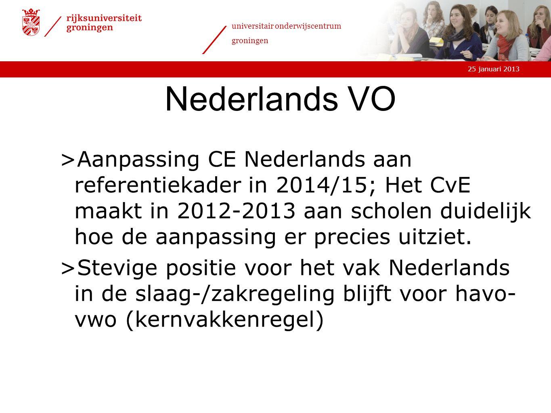 25 januari 2013 universitair onderwijscentrum groningen Nederlands VO >Aanpassing CE Nederlands aan referentiekader in 2014/15; Het CvE maakt in 2012-