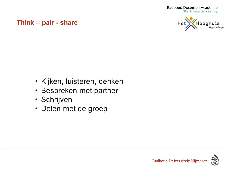 Think – pair - share Kijken, luisteren, denken Bespreken met partner Schrijven Delen met de groep