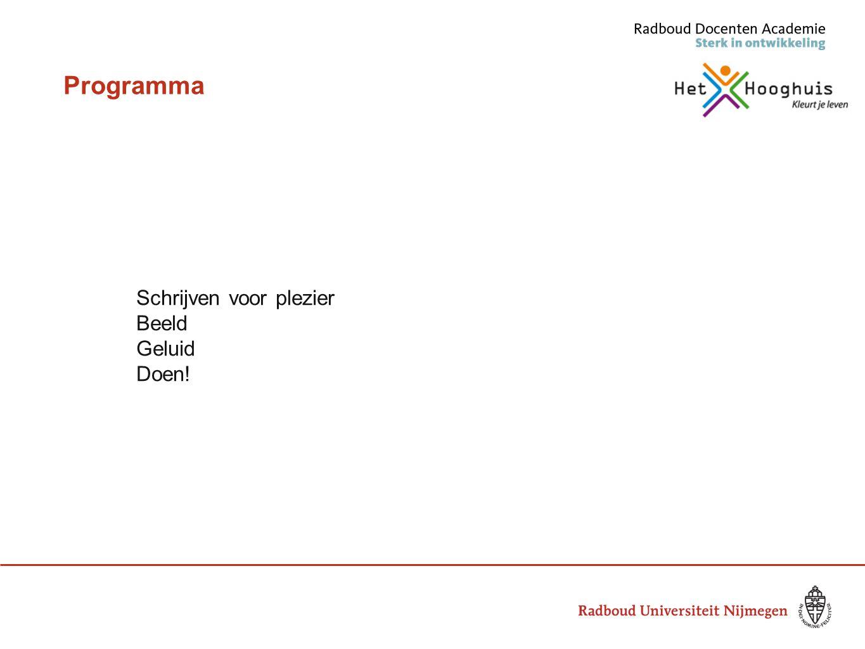 Programma Schrijven voor plezier Beeld Geluid Doen!