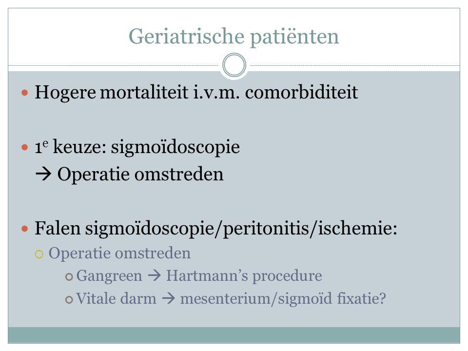 Geriatrische patiënten Hogere mortaliteit i.v.m.