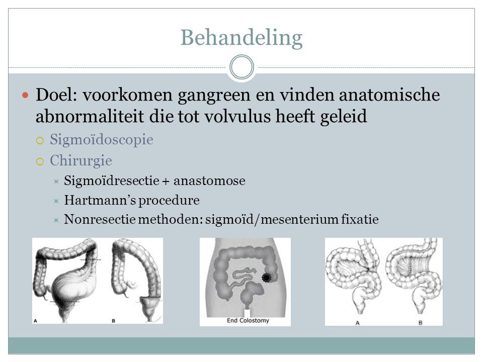 PICO P: Patiënt met een sigmoïdvolvulus I: Chirurgie C:Sigmoïdoscopie O:Mortaliteit, morbiditeit, recidiefkans