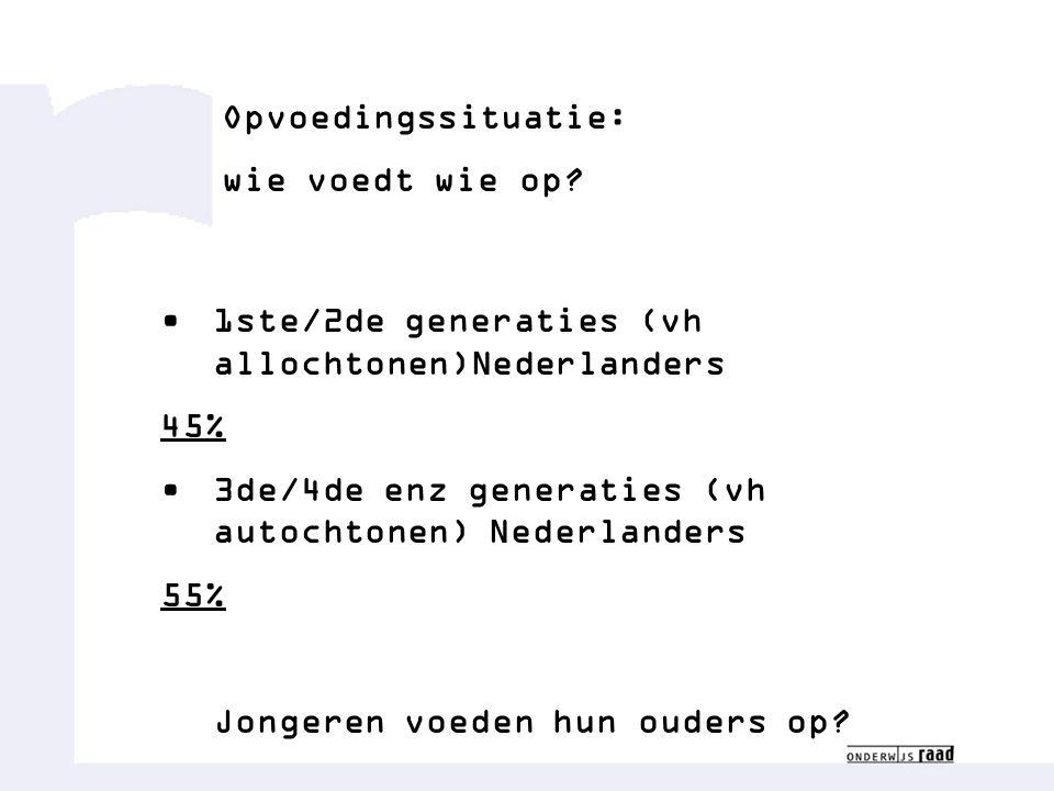 Opvoedingssituatie: wie voedt wie op? 1ste/2de generaties (vh allochtonen)Nederlanders 45% 3de/4de enz generaties (vh autochtonen) Nederlanders 55% Jo