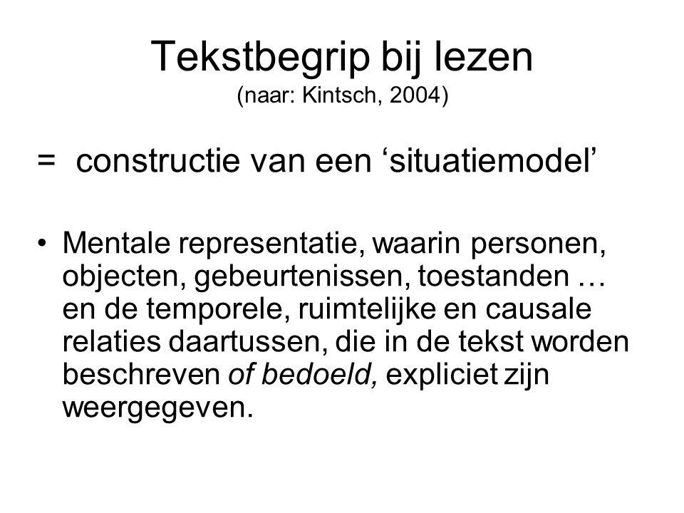 Tekstbegrip bij lezen (naar: Kintsch, 2004) = constructie van een 'situatiemodel' Mentale representatie, waarin personen, objecten, gebeurtenissen, to