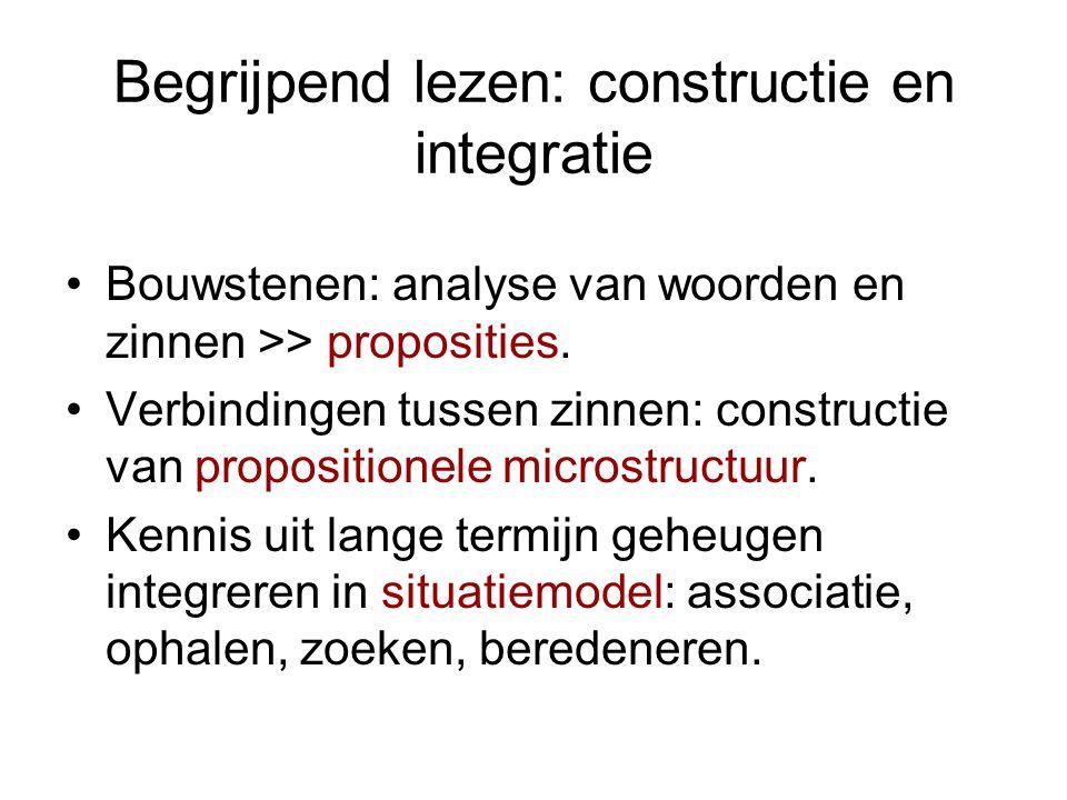 Begrijpend lezen: constructie en integratie Bouwstenen: analyse van woorden en zinnen >> proposities. Verbindingen tussen zinnen: constructie van prop