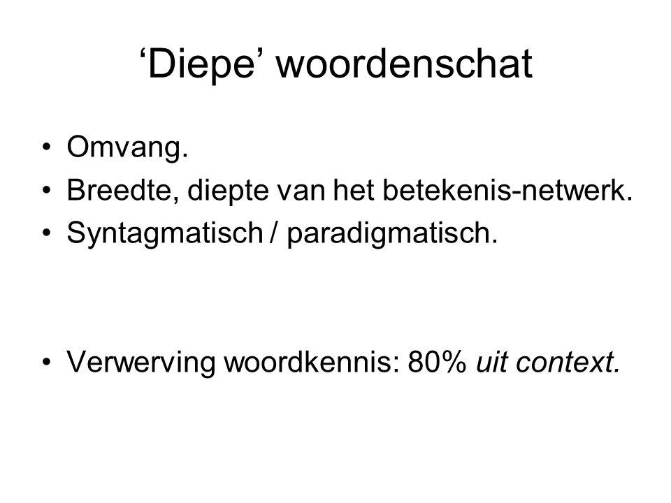 'Diepe' woordenschat Omvang. Breedte, diepte van het betekenis-netwerk. Syntagmatisch / paradigmatisch. Verwerving woordkennis: 80% uit context.