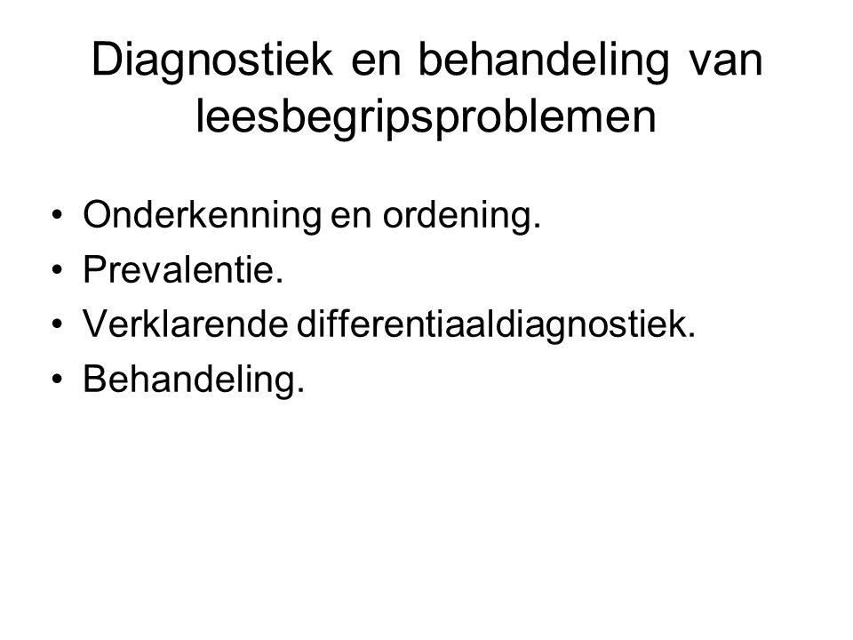 Diagnostiek en behandeling van leesbegripsproblemen Onderkenning en ordening. Prevalentie. Verklarende differentiaaldiagnostiek. Behandeling.