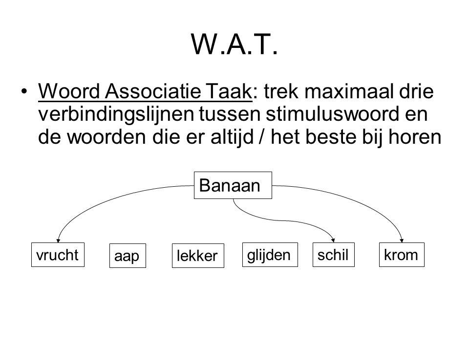 W.A.T. Woord Associatie Taak: trek maximaal drie verbindingslijnen tussen stimuluswoord en de woorden die er altijd / het beste bij horen Banaan vruch