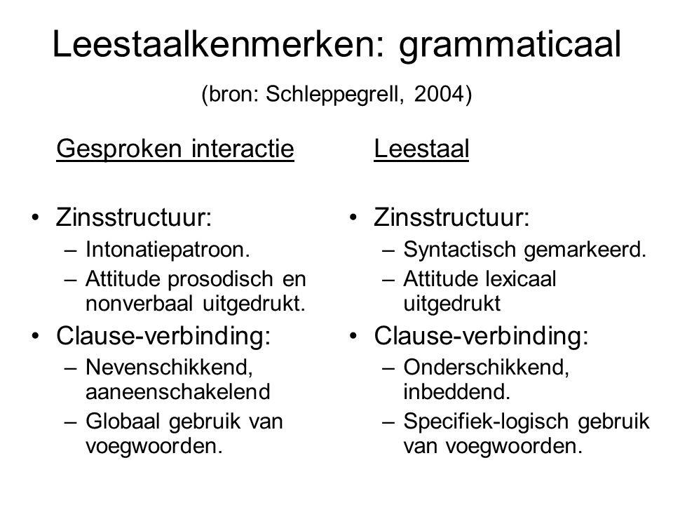 Leestaalkenmerken: grammaticaal (bron: Schleppegrell, 2004) Gesproken interactie Zinsstructuur: –Intonatiepatroon. –Attitude prosodisch en nonverbaal