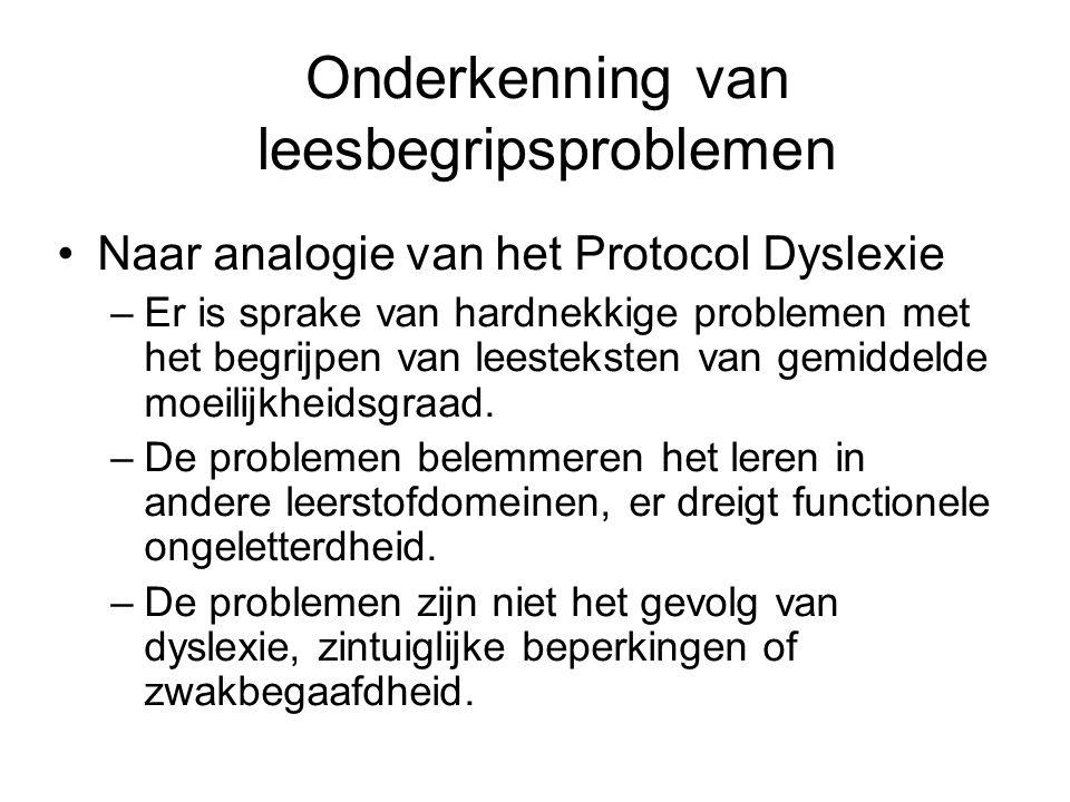 Ordening van leesproblemen (naar: Snowling & Bishop, 2004) Fonologische verwerkingsproblemen Niet-fonologische taalverwerkings- problemen JaNee JaLeerlingen met taalstoornissen Zwakke begrijpers NeeDyslecticiNormale lezers