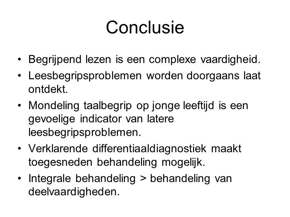 Conclusie Begrijpend lezen is een complexe vaardigheid. Leesbegripsproblemen worden doorgaans laat ontdekt. Mondeling taalbegrip op jonge leeftijd is