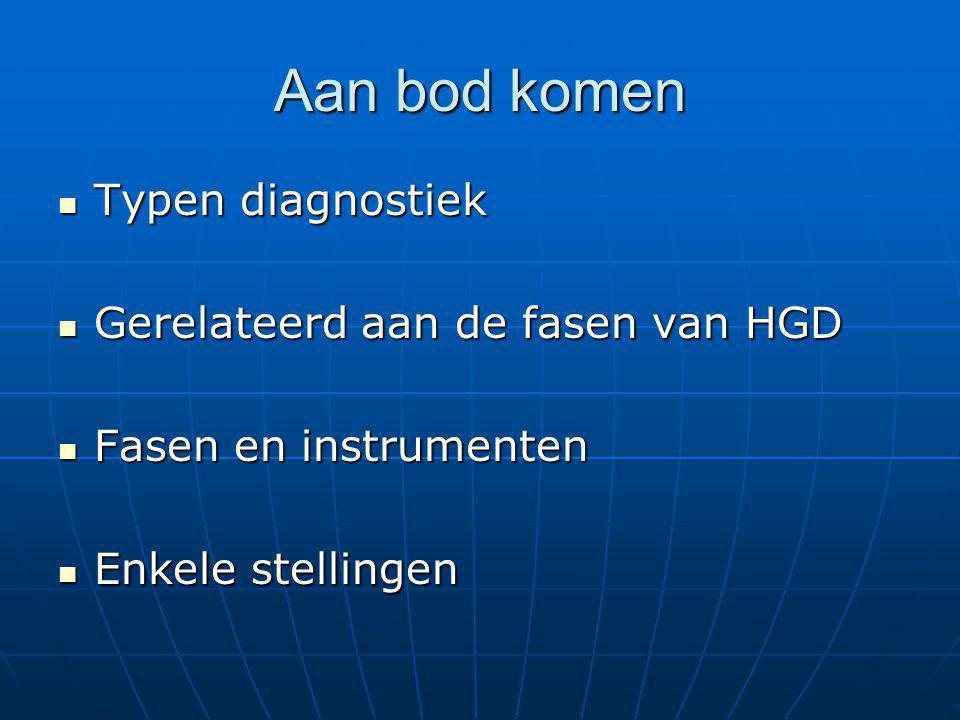 Aan bod komen Typen diagnostiek Typen diagnostiek Gerelateerd aan de fasen van HGD Gerelateerd aan de fasen van HGD Fasen en instrumenten Fasen en ins