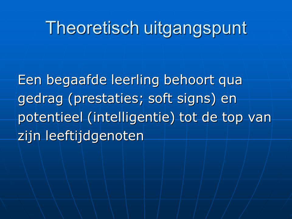 Theoretisch uitgangspunt Een begaafde leerling behoort qua gedrag (prestaties; soft signs) en potentieel (intelligentie) tot de top van zijn leeftijdg