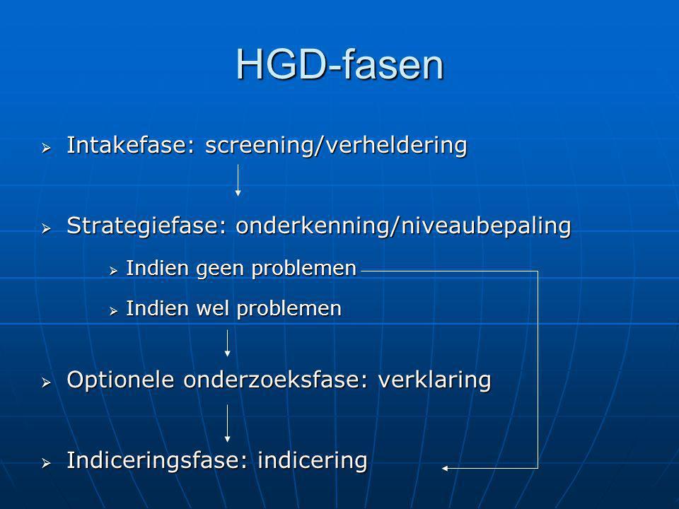 HGD-fasen  Intakefase: screening/verheldering  Strategiefase: onderkenning/niveaubepaling  Indien geen problemen  Indien wel problemen  Optionele