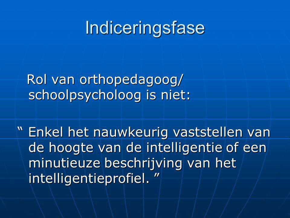 """Indiceringsfase Rol van orthopedagoog/ schoolpsycholoog is niet: Rol van orthopedagoog/ schoolpsycholoog is niet: """" Enkel het nauwkeurig vaststellen v"""