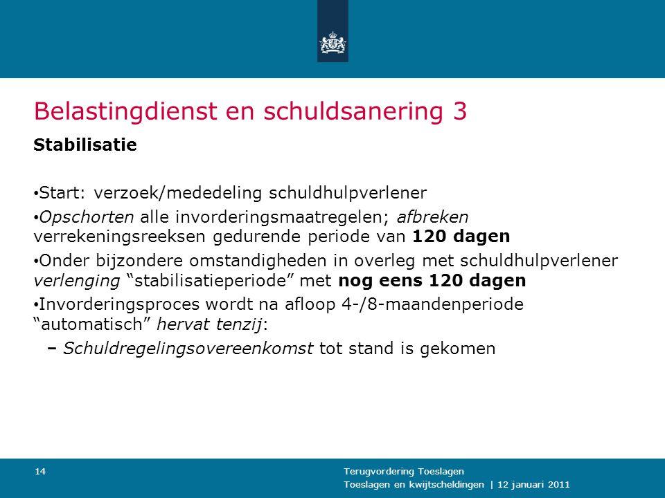 Toeslagen en kwijtscheldingen | 12 januari 2011 Terugvordering Toeslagen14 Belastingdienst en schuldsanering 3 Stabilisatie Start: verzoek/mededeling