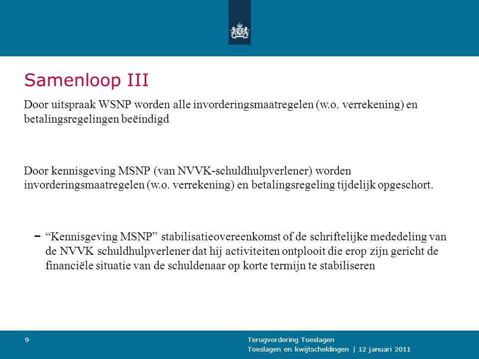 Toeslagen en kwijtscheldingen   12 januari 2011 Terugvordering Toeslagen20 Restschulden uit de boedelperiode 3 Ex-ondernemer (in de WSNP) doet na ommekomst van de schuldsaneringsregeling alsnog aangifte IB.