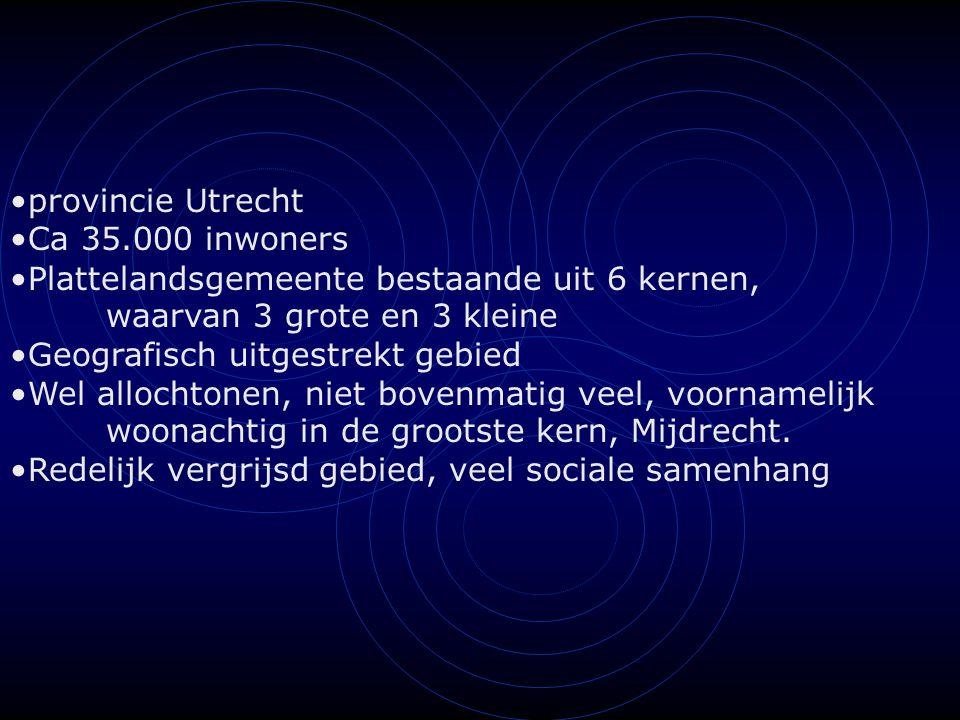 provincie Utrecht Ca 35.000 inwoners Plattelandsgemeente bestaande uit 6 kernen, waarvan 3 grote en 3 kleine Geografisch uitgestrekt gebied Wel allochtonen, niet bovenmatig veel, voornamelijk woonachtig in de grootste kern, Mijdrecht.