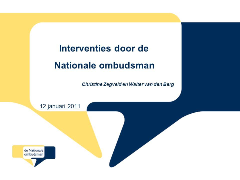 22 Programma 1.Klachtbehandeling Nationale ombudsman algemeen 2.Werkwijze bij interventie 3.Beschrijving interventies bij Belastingdienst, UWV, CAK, Zorgkantoren en RDW