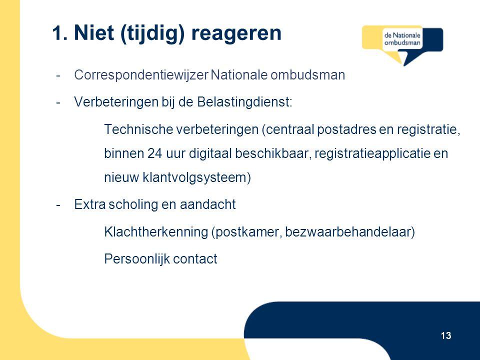 13 1. Niet (tijdig) reageren -Correspondentiewijzer Nationale ombudsman -Verbeteringen bij de Belastingdienst: Technische verbeteringen (centraal post