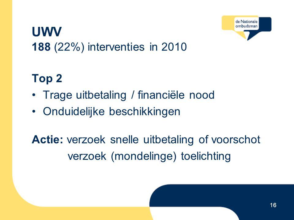 16 UWV 188 (22%) interventies in 2010 Top 2 Trage uitbetaling / financiële nood Onduidelijke beschikkingen Actie: verzoek snelle uitbetaling of voorsc