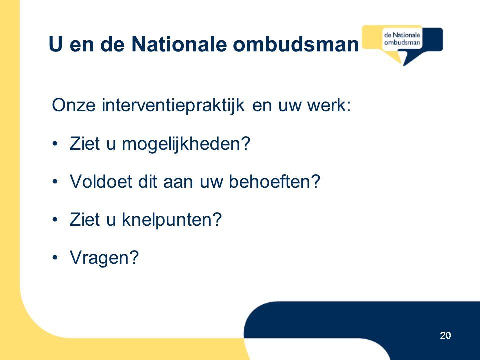 20 U en de Nationale ombudsman Onze interventiepraktijk en uw werk: Ziet u mogelijkheden? Voldoet dit aan uw behoeften? Ziet u knelpunten? Vragen? 20