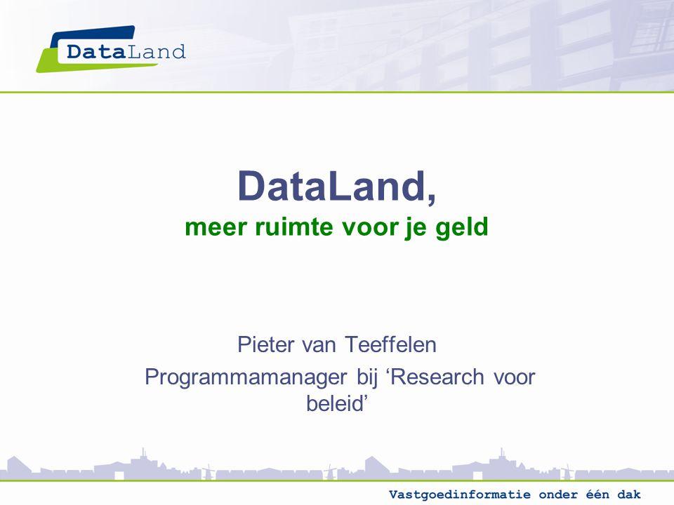 DataLand, meer ruimte voor je geld Pieter van Teeffelen Programmamanager bij 'Research voor beleid'