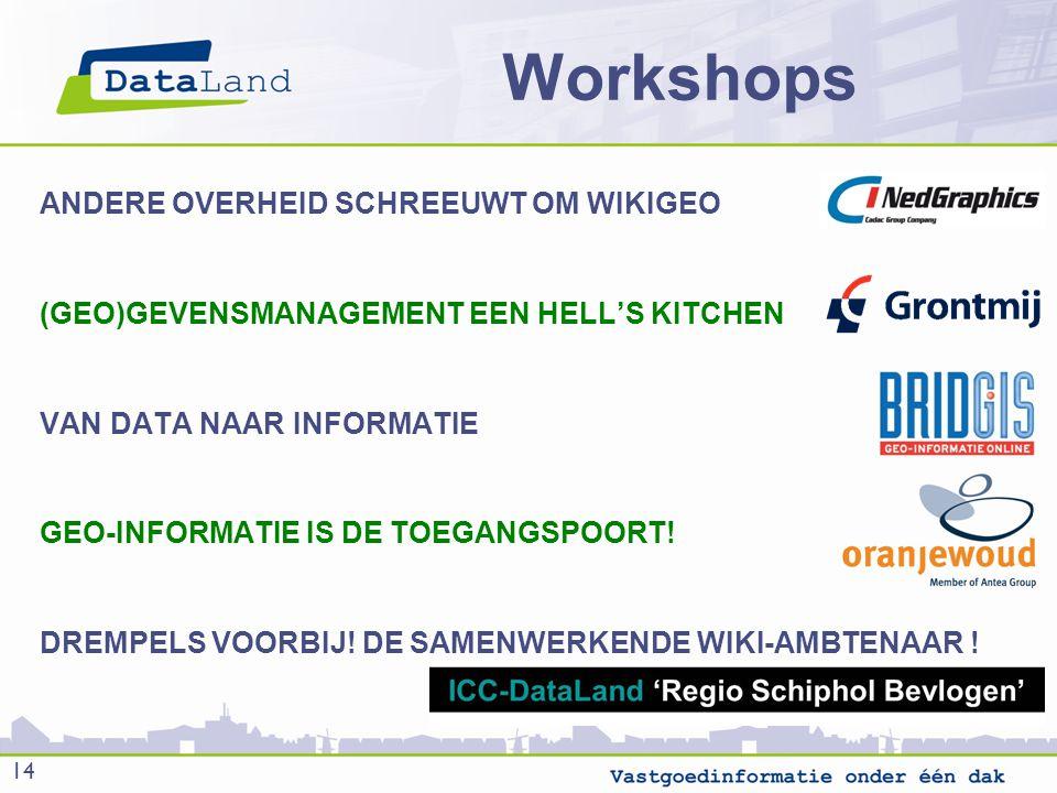 Workshops ANDERE OVERHEID SCHREEUWT OM WIKIGEO (GEO)GEVENSMANAGEMENT EEN HELL'S KITCHEN VAN DATA NAAR INFORMATIE GEO-INFORMATIE IS DE TOEGANGSPOORT.