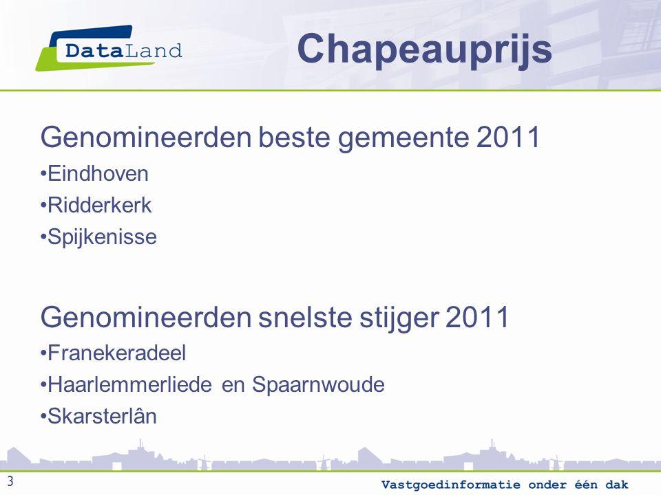Chapeauprijs Genomineerden beste gemeente 2011 Eindhoven Ridderkerk Spijkenisse Genomineerden snelste stijger 2011 Franekeradeel Haarlemmerliede en Spaarnwoude Skarsterlân 3