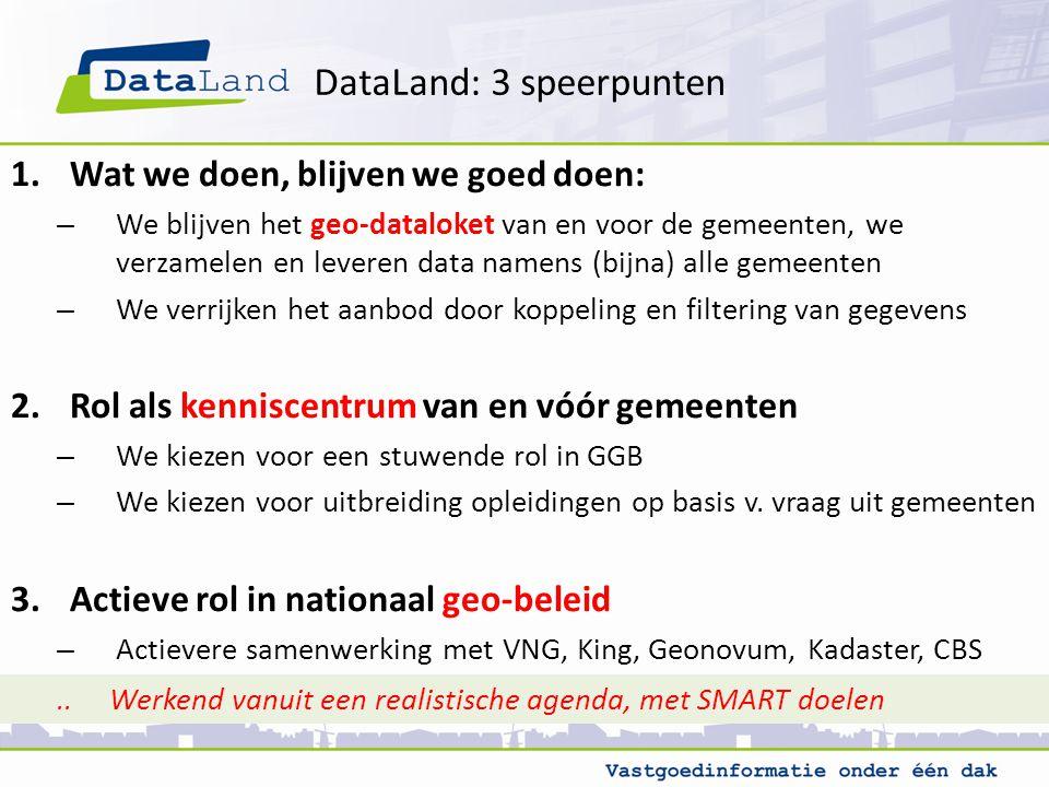 DataLand: 3 speerpunten 1.Wat we doen, blijven we goed doen: – We blijven het geo-dataloket van en voor de gemeenten, we verzamelen en leveren data namens (bijna) alle gemeenten – We verrijken het aanbod door koppeling en filtering van gegevens 2.Rol als kenniscentrum van en vóór gemeenten – We kiezen voor een stuwende rol in GGB – We kiezen voor uitbreiding opleidingen op basis v.