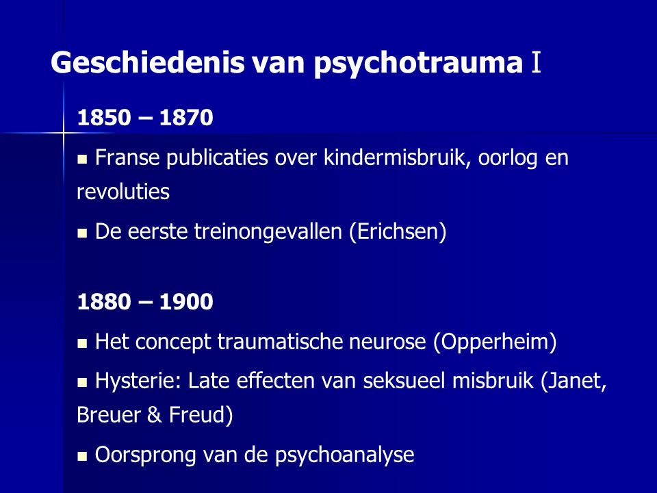Het 'beginjaar' 1980 Introductie van het concept PTSS Late gevolgen Vietnam-oorlog in de USA Maatschappelijke achtergronden Gijzelingen in Nederland O