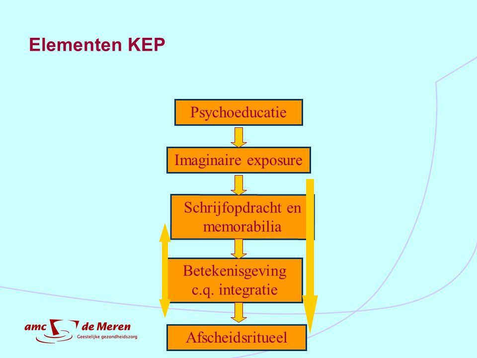 Elementen KEP Betekenisgeving c.q. integratie Afscheidsritueel Schrijfopdracht en memorabilia Psychoeducatie Imaginaire exposure