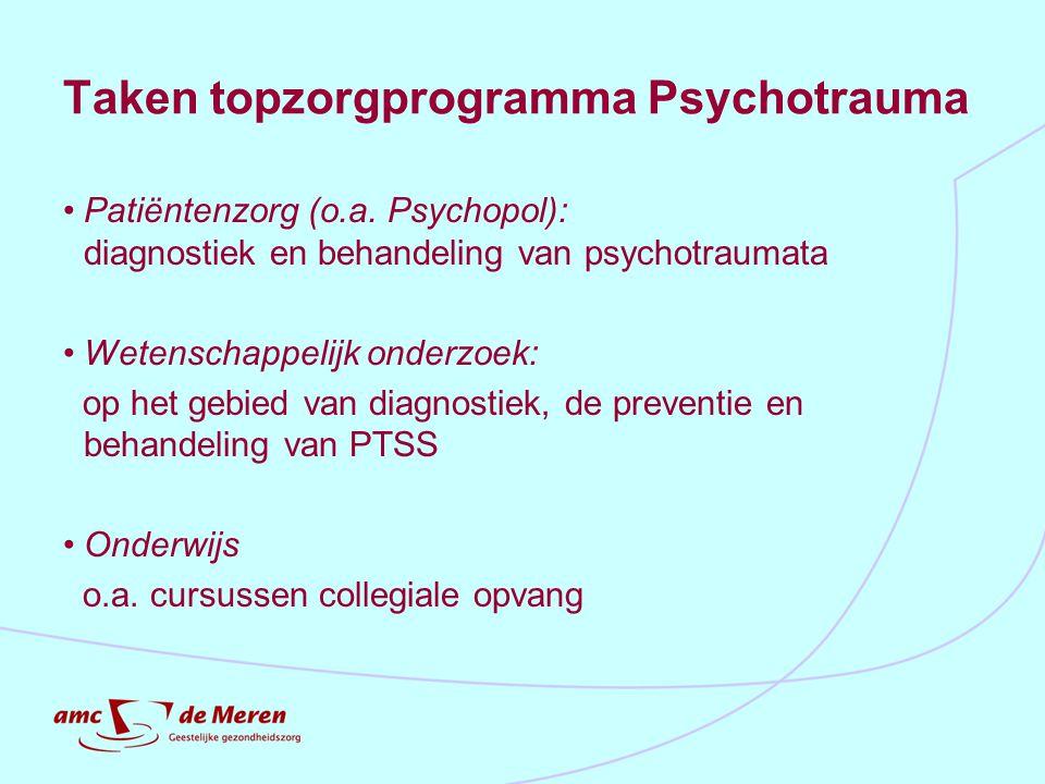Taken topzorgprogramma Psychotrauma Patiëntenzorg (o.a. Psychopol): diagnostiek en behandeling van psychotraumata Wetenschappelijk onderzoek: op het g