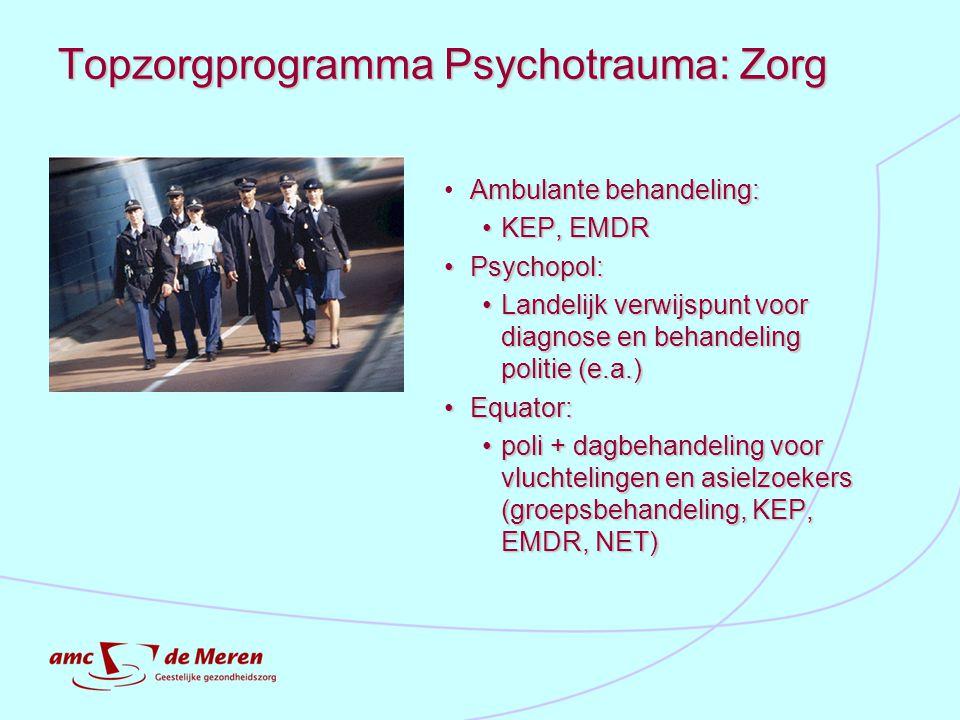 Topzorgprogramma Psychotrauma: Zorg Ambulante behandeling: KEP, EMDRKEP, EMDR Psychopol: Psychopol: Landelijk verwijspunt voor diagnose en behandeling
