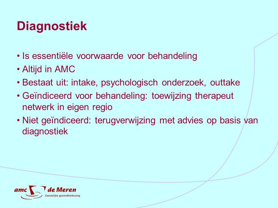 Diagnostiek Is essentiële voorwaarde voor behandeling Altijd in AMC Bestaat uit: intake, psychologisch onderzoek, outtake Geïndiceerd voor behandeling