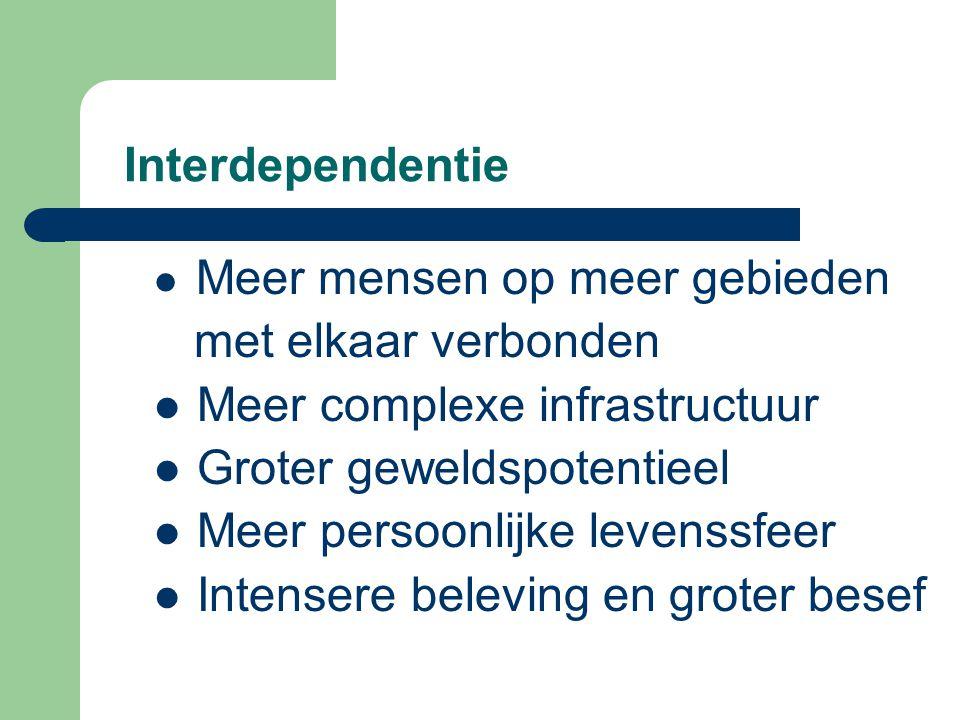 Interdependentie Meer mensen op meer gebieden met elkaar verbonden Meer complexe infrastructuur Groter geweldspotentieel Meer persoonlijke levenssfeer