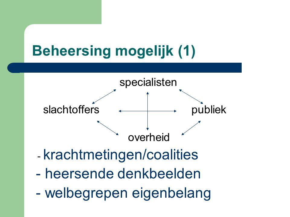 Beheersing mogelijk (1) specialisten slachtoffers publiek overheid - krachtmetingen/coalities - heersende denkbeelden - welbegrepen eigenbelang